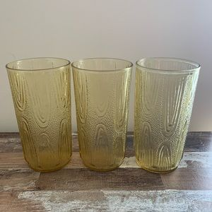 Vintage Wood Accent Yellowish Glass Cups Set of 3